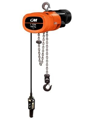 Cm Mg0116 1-Phase Single Speed Man Guard Electric Chain Hoist With Rigid Hook Suspension, 2000 Lbs Capacity, 20' Lift Height, 16 Fpm Lift Speed, 1Hp, 115/230V/60Hz