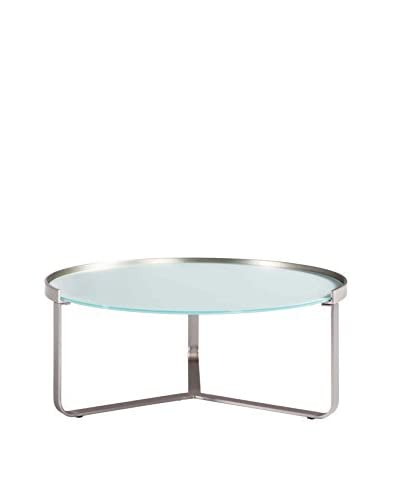 Furniture Contempo Clara Coffee Table, Brushed Nickel/Frost