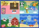 """Joy Carpets Kid Essentials Infants & Toddlers Animals All Around Rug, Multicolored, 5'4"""" x 7'8"""""""