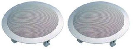 8Inch Full Range Ceiling Speaker Pair With White Plastic Frame Painted Steel Grill