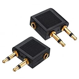 2x Golden Plated Airline Airplane Flight Adapter