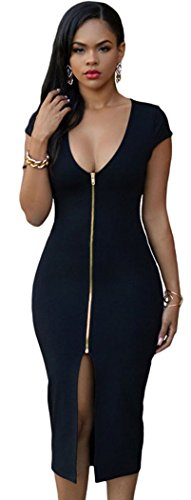 christmas tomyork gold zipper front short sleeves midi dress black. Black Bedroom Furniture Sets. Home Design Ideas