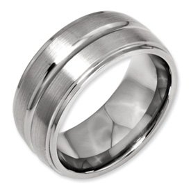 Genuine IceCarats Designer Jewelry Gift Titanium Grooved Ridged Edge 10Mm Brushed And Polished Band Size 12.00