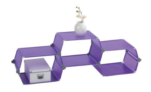 Wenko Honey 2561230100 Set scaffalatura 3 pezzi, in plastica di alta qualità, a nido d'ape, ognuno 45x25,5x30,5 cm, colore: Lilla