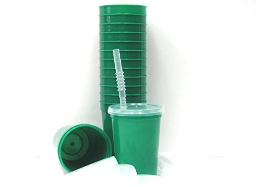 talisman-small-plastic-drinking-glasses-lids-and-straws-12-ounce-12-pack-kelly-green