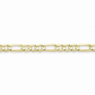 10k Yellow Gold 6.75mm Light Figaro Link Bracelet - with Secure Lobster Lock Clasp