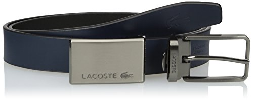 Lacoste Men's Premium Leather Interchangeable Metal Plate Buckle Belt Set, Black/Navy, 85 (Lacoste Belts compare prices)