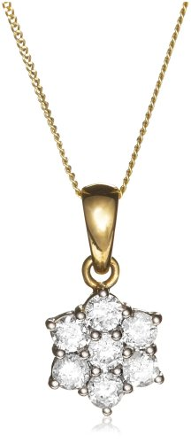 9ct Yellow  &  White Gold 7 Stone 50pt Diamond Cluster Pendant  &  46cm Curb Chain