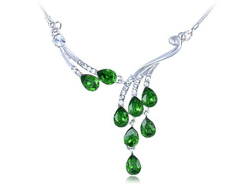 Silver Tone Dangling Emerald Green Dew Droplets Clear Crystal Choker Necklace