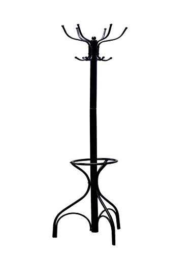 Frenchi Home Furnishing Metal Coat Rack with Black Umbrella Stand, Black
