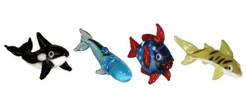 Looking Glass Miniature Collectible - Orca/Sperm Whale/Opah/Tiger Shark (4-Pack)