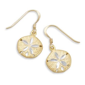 14 Karat Gold Plate Sand Dollar French Wire Earrings