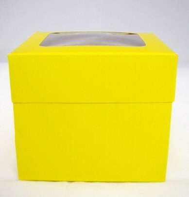 Single Yellow Cupcake Boxes with Window packs of 10