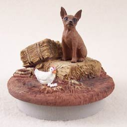 Conversation Concepts Miniature Pinscher Red & Brown Candle Topper