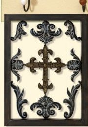 Amazing DELUXE Metal Cross and Scroll Design Wall Decor Iron Art