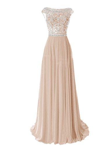 Tidetell Elegant Floor Length Bridesmaid Cap Sleeve Prom Evening Dresses Champagne Size 4
