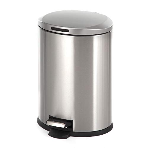 Home Zone Stainless Steel Kitchen Trash Can with Oval Design and Step Pedal   12 Liter / 3 Gallon Storage with Removable Plastic Trash Bin and Rubber Liner, Silver