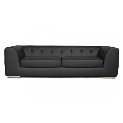 FASHION FOR HOME 3-Sitzer Sofa Yorkville Leder Schwarz
