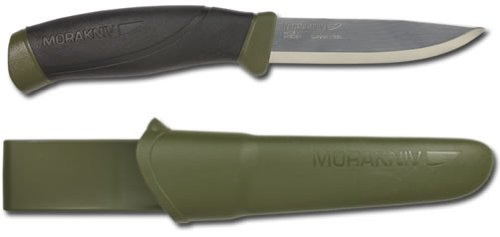 Morakniv Companion Fixed Blade Outdoor Knife with Sandvik Carbon Steel Blade, Military Green, 4.1-Inch
