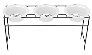 Platinum Pets Triple Modern Diner Stand with 16-Ounce Stainless Steel Dog Bowls in Pearl White