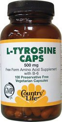 Country Life - L-Tyrosine Caps Free-Form Amino Acid Supplement With B-6 500 Mg. - 100 Vegetarian Capsules