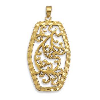 Sterling Silver 14 Karat Gold Plated Filigree Pendant