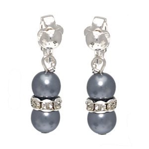 Joasia Silver Crystal Grey Pearl Clip On Earrings