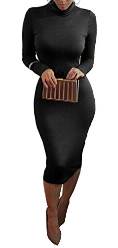 Modo Vivendi | Women Long Sleeve Bandage Bodycon Below Knee Length Maxi Dress (Large, Black)