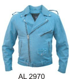Kids Blue Denim Basic Motorcycle Style Jacket W/Half Belt AL-2970-3XL