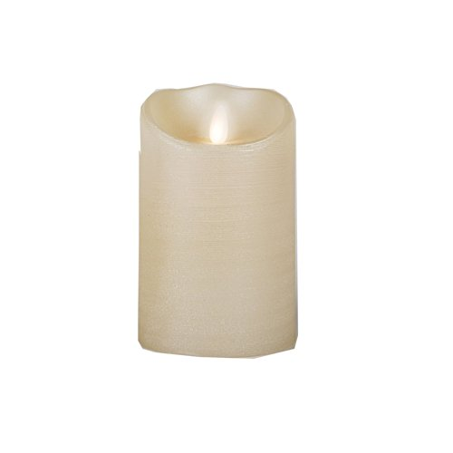 Luminara Moving Wick Flameless Candle With Timer-Remote Ready-Vanilla Scent-Glittered Pearl 5""