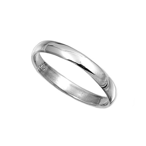 Sterling Silver Wedding Band/Ring - Width: 3mm Size 10