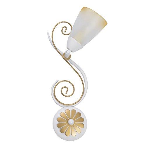 Luminaire applique métal couleur blanche et or abat-jour verre blanc jaune mat salon cuisine 1 ampoules non-incl.E14 4*40W 230V