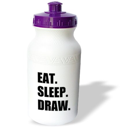 Wb_180397_1 Inspirationzstore Eat Sleep Series - Eat Sleep Draw - Devoted Artist. Arty Student. Passionate Hobby Drawer - Water Bottles back-384345