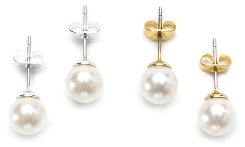 Lauren Lee 4 Part Glass Faux Pearl Stud Earring Set in Silver and Gold of 6mm and 8mm