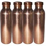 Anupam Handmade 100% Pure Copper Yoga Water Bottle Set Of 4-1000ml, Leak Proof & Joint Free For Ayurvedic Health...