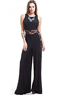 Symphony Women's Sleeveless Jumpsuit with Lace Panels