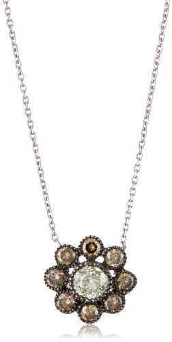 Sethi Couture Champagne and White Diamond Cluster Pendant Necklace