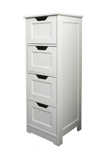 NEW FREE STANDING BATHROOM UNIT WHITE WOODEN 4 DRAWER