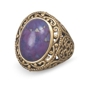 Bronze and Dyed Purple Turquoise Ring / Size 7