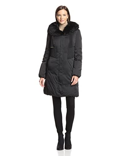 Elie Tahari Women's Nina Convertible Hood Down Jacket with Fur Trim