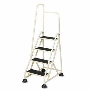 Cramer Stop Step 1041L Step Ladder - 4 Step - 300lb - 24.62amp;quot; x 33.5amp;quot; x 66amp;quot; - Aluminum - Beige
