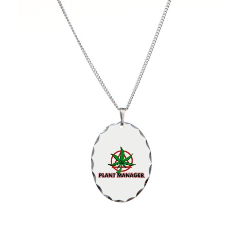 Necklace Oval Charm Marijuana Plant Manager