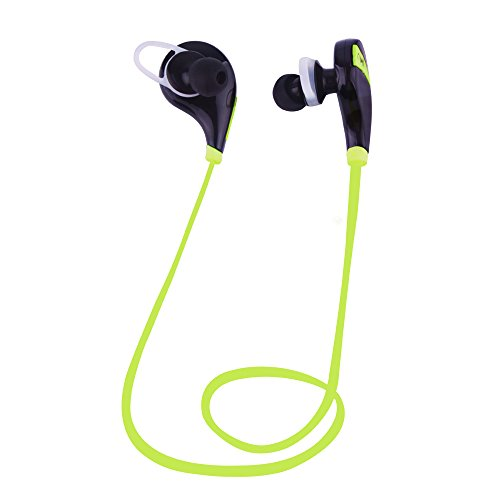 Sunvito Wireless Bluetooth 4.0 Headphone, Mini Lightweight In Ear Sweatproof with Microphone for iPhone, iPad, iPod, Android, Samsung Galaxy, Smart Phones Bluetooth Devices (Black+green)