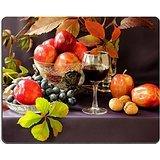 luxlady-gaming-mousepad-bild-id-24581723-trauben-apfel-nusse-und-ein-glas-rotwein-und-grun-leaf