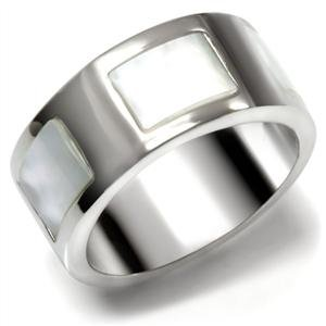 BAND RING - Stainless Steel Genuine Conch Precious Stone Ring
