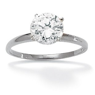 10k White Gold DiamonUltra Cubic Zirconia Solitaire Ring