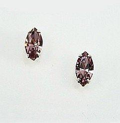 Sale - Swarovski Earrings - Light Amethyst Navette Stud Earrings - Diamante Earrings - Swarovski Crystal - Clip On Earrings