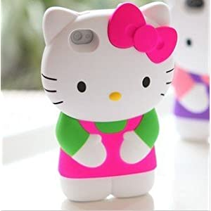 3d Sanrio- Hello Kitty Case/cover/protector Pink Ribbon with Light Green & Pink Outfit Fits All Models of Iphone 4 & 4s