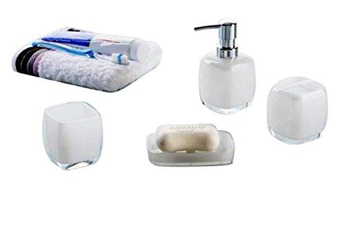 Hot San Acrylic 4 Pieces Bathroom Accessory Set - Opaque White Design Ensemble,Bathroom Vanities,Home Decor