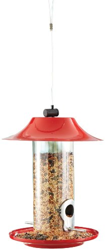North States Industries 1599 Red Roof Tube Metal Birdfeeder